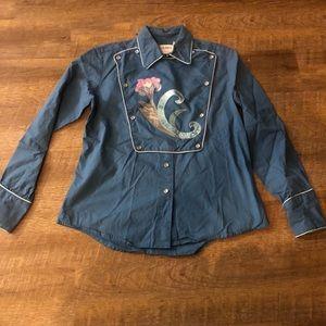 Vintage western pearl snap shirt with bib